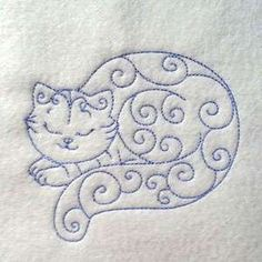 Free Embroidery Design: Curly Kitten Line Art