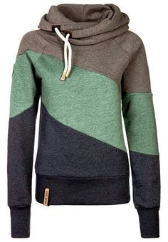 I gotta have one of these! Women Lady Fashion: Colorful Sports Comfy and Cozy Hoodie. Grey&Green&...