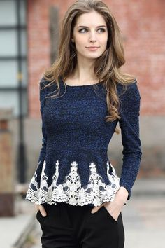 So Pretty! Blue and White Lace Edge Round-Neck Long Sleeve Figure Fit Long Sleeve BodyCon Blouse