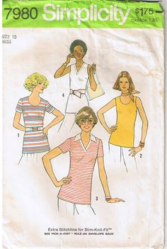 I found this vintage sewing pattern in which you can use either wovens or stretch knits. Has extra stretchline included for knits. Very versatile vintage sewing pattern. Available for sale in my ebay store.