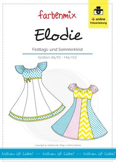 Multi-size cut pattern, sizes: All sizes are shown on the cut pattern sheet. The pattern ELODIE is the perfect girls dress for any occasion, as a gearing dress, communion dress or wedding, ELODIE is gorgeous! Girls love beautiful wide dresses and Girls Communion Dresses, Girls Dresses, Paper Cutting Patterns, Diy Mode, The Perfect Girl, School Dresses, Patterned Sheets, Fabric Tape, Different Dresses