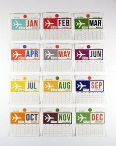 2012 Calendar with Gift Tin, Vintage Luggage Tag Themed Wall Calendar. $30.00, via Etsy.