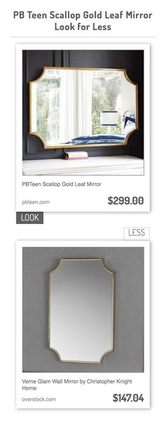 PBTeen Scallop Gold Leaf Mirror vs Verne Glam Wall Mirror by Christopher Knight Home