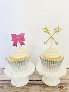 Bows or arrows cupcake topper/ Gender reveal by BellsNBerries