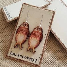 Owl Earrings handmade ooak laser cut wood stainless earwires animals nature HOoT