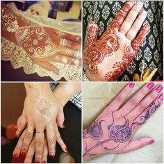 White henna, traditional henna, mettalic henna and jagua.  #henna #mehndi #florida #tattoo #inked #bridal #couture #fashion #sexy #art #spa #bodyart #bodypaint Henna@nazadesign.com