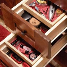 Bathroom vanity storage Drawer top trays verry easy to do.I love this saves so much space!!!