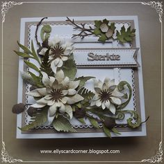Elly´s Card- Corner Sympathy Cards, Flower Cards, I Card, Wreaths, Corner, Frame, Flowers, Handmade, Inspiration