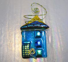 NY House OrnamentFused Glass in Turquoise by glassartelements