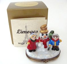 Limoges Box - Snowman with Children