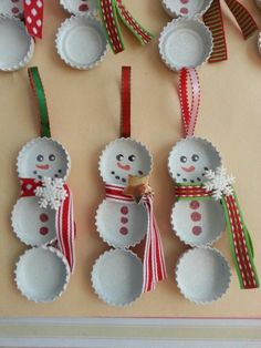 Get inspired by these beautiful & Simple DIY Christmas ornaments ideas to decorate christmas tree and making amazing hand crafted gifts for holiday. Christmas Decorations Diy For Kids, Christmas Crafts To Make, Christmas Crafts For Kids To Make, Christmas Ornament Crafts, Handmade Christmas Gifts, Kids Crafts, Snowman Ornaments, Christmas Christmas, Diy Tree Decorations