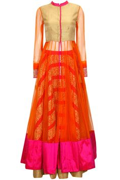 Pink embroidered lehenga with orange kalidaar jacket and dupatta available only at Pernia's Pop-Up Shop.