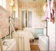 pink toile wallpaper bathroom