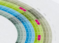 Self promotion infographic calendar for 2012. Each color/ring represents one month of the year. National holidays (germany) are highlighted with an icon and pink color. The tabular view at the bottom offers some space to fill in appointments or birthdays.…