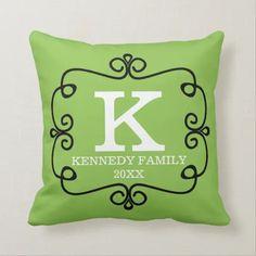 Elegant Family Name Monogram Lime Green Throw Pillow   Zazzle.com Monogram Pillows, Monogram Initials, Custom Pillows, Lima, Free Birthday Card, Solid Color Backgrounds, Green Throw Pillows, Trendy Home Decor, Designer Throw Pillows