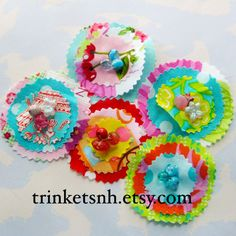 Beaded flowers for scrapbooking or sewing.