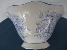 Portuguese Blue Floral  Porcelain Serving Bowl Marked Pereiras Made In Portugal…