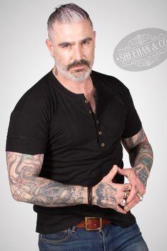 Sheehan & Co. Daniel Sheehan, Henleys, Mens Attire, Henley Shirts, Vintage Inspired, Gray Color, Fox, Fabrics, Mens Fashion