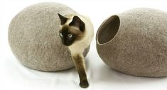 Kivikis Cat House Bed Cave Nap Cocoon Igloo Handmade From Sheep Wool Made Size Xl - Pro Dog Supplies Gato Grande, Cat Cave, House Beds, Sheep Wool, Wild Hearts, Dog Supplies, Wool Felt, Lana, Your Pet