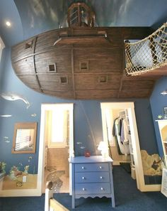 suspended pirate ship bed
