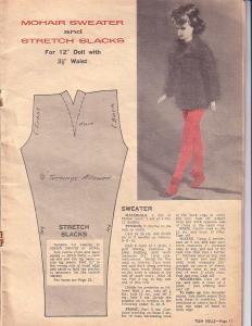 Free Fashion Doll Clothe Pattern - Mohair Sweater (knit) & Stretch Slacks