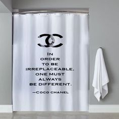 Choco Chanel Quotes Shower Curtain cheap and best quality. Chanel Bedroom, Chanel Bedding, Latest Bathroom Tiles, Bath Quotes, Chanel Decor, Chanel Quotes, Window In Shower, Shower Accessories, Room Themes