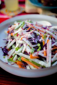 Rainbow Jicama Salad Recipe. A super crunchy salad with poppy seed dressing. Dairy free and gluten free! | ¡HOLA! JALAPEÑO Carrot Salad, Latin Food, Snack Recipes, Keto Recipes, Gluten Free Recipes, Whole Food Recipes, Healthy Recipes, Cooking Recipes, Potluck Recipes