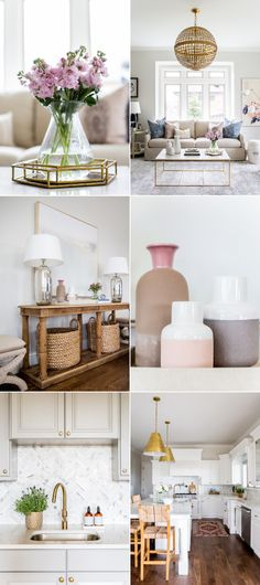 Blush and lavender marry this neutral hued home. via @stylemepretty