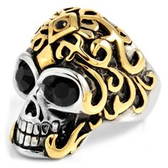 * Masculine steel ring * Surgical Steel * Nickel tested * Comes with a pouch Alien Skull, Ring Size Guide, Titanium Rings, Gold Crown, En Stock, Size 10 Rings, Engraved Rings, Finger, Fashion Rings