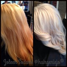 COLOR CORRECTION: Brassy Mess to Level 10 Platinum Princess! @froggstarr  this is how blonde i want to go on the right