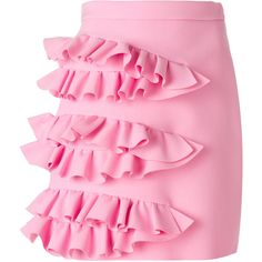 MSGM ruffled skirt (£265) ❤ liked on Polyvore featuring skirts, frill skirt, flounce skirt, ruffled skirts, pink ruffle skirt and pink skirt