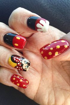 Instead of red and yellow use orange, green or purple for halloween. My (Lisa) Oct. 2013 Nails for Disneyland and Halloween. Mickey Nails, Minnie Mouse Nails, Mickey Mouse, Love Nails, Pink Nails, My Nails, Pedicure Nail Art, Red Pedicure, Pedicure Ideas