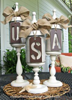 of July Apothecary Jar Decor of July DIY Decor} Check out these stylish of July DIY apothecary jars! Perfect to help decorate leading up to the… Fourth Of July Decor, 4th Of July Decorations, 4th Of July Party, July 4th, Americana Decorations, Primitive Decorations, Patriotic Crafts, July Crafts, Holiday Crafts