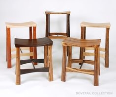Several nice custom made wood stools. Various woods. Via dovetail Collection: http://www.dovetailcollection.com/catalog.aspx