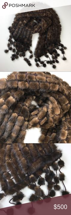 """RARE! Real Mink Fur Scarf Wrap in Brown RARE! Custom Made Real Mink Fur Scarf Wrap.  Drape yourself in decadence with this luxe, mink scarf, crafted with a tonal trim and a plush, knit finish for the classic look. Real mink fur, knit border. Dimension: approximately 17"""" x 75"""".  #J012-12017 Neiman Marcus Accessories Scarves & Wraps"""