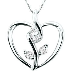 Eternal Bliss 1//10 cttw Round Blue /& White Diamond Heart Pendant with 18 Chain Necklace in 10K White Gold