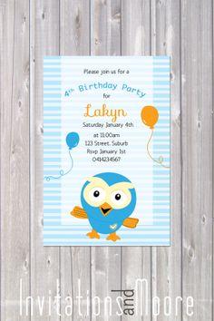Giggle and Hoot Invitation. Printable by InvitationsandMoore, $15.00 4th Birthday Parties, Boy Birthday, Birthday Cakes, Birthday Ideas, Party Stuff, Party Cakes, Cake Ideas, First Birthdays, Party Time