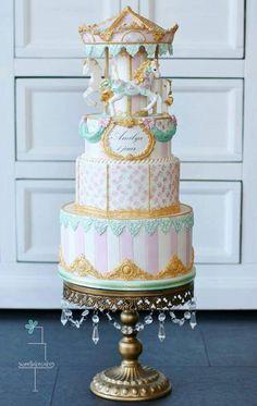 Beautiful carousel cake.