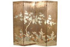 19th-C. Chinese Hand-Painted Screen