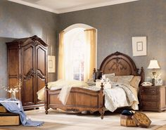 Cherry Sleigh Bed Jessica McClintock Home The Heirloom Collection