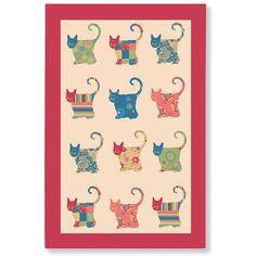 Applique Cat Linen Tea Towel