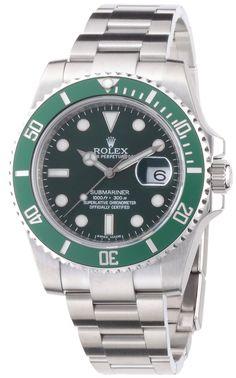 566679419e7 Amazon.com  Rolex Submariner Green Dial Steel Mens Watch 116610LV  Rolex   Watches