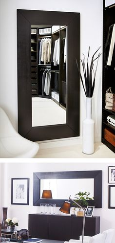 Small space? Add a big mirror to make it feel more open! The IKEA MONGSTAD mirror can be hung vertically or horizontally to fit your space.