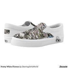 Pretty White Flowers Printed Shoes