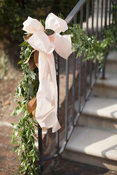 raw silk bow and greenery garland | Patricia Lyons #wedding