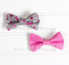 Hair Bow Clips- Hearts, Valentine's Day, Grey, Pink, Set of 2, Toma's Tutus and Things, $11.50