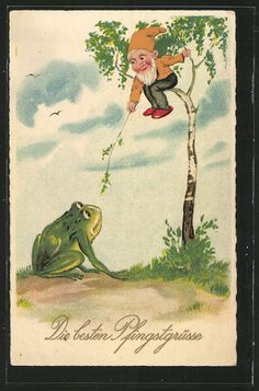 Vintage postcard with gnome and frog: Die besten Pfingstgrüße. (Best Pentecost greetings?) From ansichtskartenversand.com.