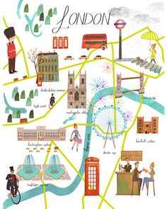 Illustrated Map of London. Planning a visit?! Get your luggage from London Luggage! http://www.londonluggage.co.uk