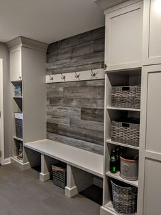 Laundry room storage wall