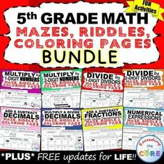 5th Grade Math Mazes, Riddles & Coloring Pages (Fun MATH Activities) Have your students apply their understanding of 5th GRADE MATH with these mazes, riddles and coloring pages. Includes 8 of my top selling 5th Grade MATH FUN ACTIVITIES packets (24 activities / over 270 questions). Topics: ✔ Numerical Expressions  ✔ Multiply by 1-Digit Numbers and 2-Digit Numbers  ✔ Divide by 1-Digit Divisors and 2-Digit Divisors  ✔ Add, Subtract, Multiply and Divide Decimals  ✔ Add & Subtract Fractions